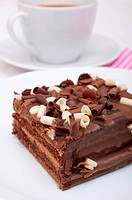 Homemade Chocolate Cake _ Brownies and Cup of Coffee on White Plate
