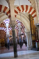 Arches and columns, Cathedral of our Lady of the Assumption Great Mosque of Córdoba, Cordoba, Andalusia, Spain, Europe