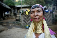 Closeup portrait of an older Longneck woman Approximately 300 Burmese refugees in Thailand are members of the indigenous group known as the Longnecks ...