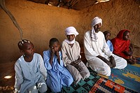 Portrait of Sudanese refugee family in Chad