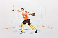 Discus thrower, coloured drawing, by artist Gerhard Kraus, Kriftel, Germany