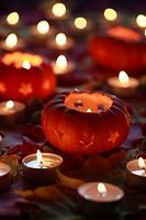 Maple, leaf, leaves, decoration, detail, Halloween, autumn, autumn color, autumn colors, autumn foliage, colouring, candle, candles, pumpkin, pumpkins...
