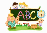 Children and animal with alphabet on the blackboard