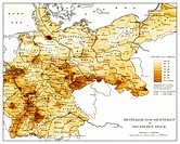 Historical map, population density in the German Reich, 19th Century, from Meyers Konversations-Lexikon encyclopaedia, 1890