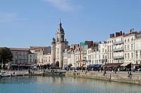 Porte de la Grosse Horloge, city gate, port, promenade, La Rochelle, Charente-Maritime, Poitou-Charentes, France, Europe, PublicGround