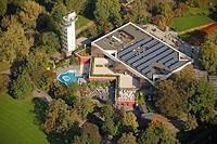 Aerial view, Grugapark, Essen, Ruhr Area, North Rhine-Westphalia, Germany, Europe