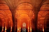 Yerebatan Sarayi, underground cistern  Istanbul  Turkey.