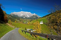Salzburg country, Austria, Europe, outdoors, outside, day, autumn, autumnal, autumn colors, nobody, church, churches, architecture, building, building...