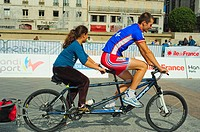 Paris, FRANCE - French Handicapped Athletes Teaching Children in Physical Fitness Class at 'Rencontres EDF Handisport' Man cycling on Tandem Bicycle