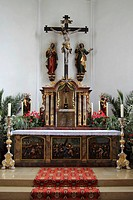 Altar of the Catholic Church of St. Simon and Jude in Uttenweiler, Upper Swabia, Baden-Wuerttemberg, Germany, Europe