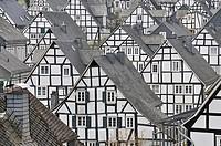 Historic downtown, Alter Flecken with half-timbered houses, Freudenberg, Siegen-Wittgenstein, Siegerland region, North Rhine-Westphalia, Germany, Euro...