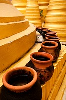 Clay pots on a golden stupa at Shwe Inn Thein Paya  Inthein, Myanmar