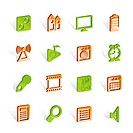 Mobile phone performance, internet and office icons _ vector icon set