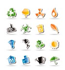 Simple Ecology and Recycling icons _ Vector Icon Set