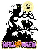 Halloween sign with cats _ color illustration.
