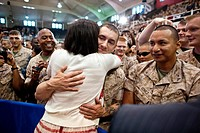 First Lady Michelle Obama greets Marines following her remarks to 3,000 Marines, soldiers, sailors, and military family members at Memorial Field Hous...