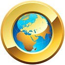 Globe button rimmed with golden glossy frame isolated on white.