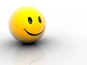Yellow smiling face icon _ rendered in 3d