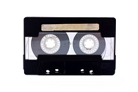 Black_transparent Compact Cassette isolated on white