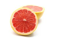 cross section of Fresh juicy grapefruits isolated on white background