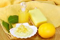 Sea bath salt and yellow accessories _ body care