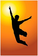 A silhouette of a man making the jump.
