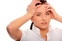 Businesswoman with a big headache isolated on with with copy space