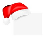 Vector realistic santa´s cap hanging on a blank card on white