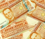 Philippine Money Peso Banknotes background.