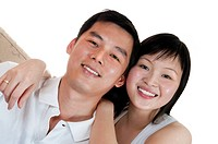 Portrait of Young Asian couple with smiling face.
