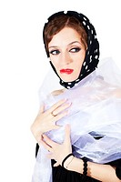 beautiful woman wearing headscarf polka dot
