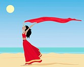 vector illustration of an asian woman wearing a red sareea running on a sunny beach