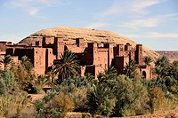 Adobe buildings in Ksar Ait Benhaddou or Ait Ben Haddou, mountain village known as a film set at the foot of the High Atlas Mountains, Morocco, Maghre...