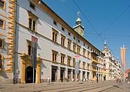 Renaissance Landhaus parliament and Landeszeughaus armoury in Herrengasse street in Graz, Styria, Austria, Europe