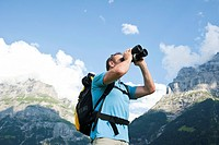 Hiker in the Swiss Alps, Grindelwald, Bernese Oberland, Switzerland, Europe