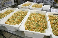 Production line of meals for Rouen hospitals, France.