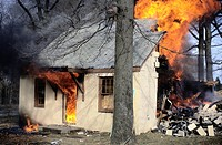Fire rages in a house in Maryland