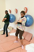 Photo essay at the maternity of Rouen hospital in France. Antenatal class.