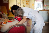 Photo essay in a retirement home at Notre_Dame_de_Gravenchon, France. Alzheimer unit.