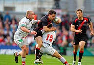 28 04 2012 Dublin, Ireland Rugby Union Ulster V Edinburgh Nick De Luca Edinburgh is tackled by Stefan Terblanche Ulster and Tom Court Ulster during th...