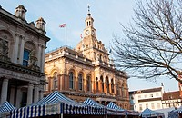 Ipswich town hall with market canopies  Suffolk  England