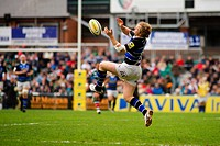 21 04 2012 Leicester, England Leicester Tigers v Bath Rugby Nick Abendanon Bath Rugby in action during the Premiership Rugby game played at the Welfor...
