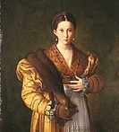 Anteas Portrait Portrait of Young Woman, by Francesco Mazzola known as Parmigianino, 1535 _ 1537 about, 16th Century, oil on canvas, cm 135 x 88 . Ita...