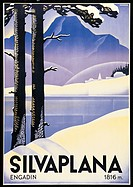 Advertising poster Silvaplana, by Johannes Handschin, 1935, 20th Century, print. private collection. Advertising poster lake Silvaplana Engadine trees...