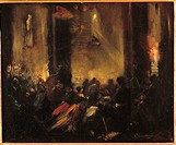 Midnight Mass in Rome, by Unknown Artist, 1859, 19th Century, oil on canvas, cm 38 x 45. France, Ile de France, Paris, Muse dOrsay. All. Midnight Mass...