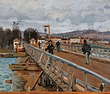 Camarets Port, by Alfred Sisley, 1872, 19th Century, oil on canvas, cm 39 x 60. France, Ile de France, Paris, Muse dOrsay. Detail footbridge at Argent...