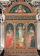 Triptych with the Resurrection, Saints and the Eternal Father Altarpiece of the Melzi Family, by Giovanni Ambrogio Bevilacqua, 1480 _ 1488, 15th Centu...
