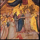 The Mystical Marriage of St Francis to Poverty, by Giotto, co_workers and Giotto, 1315 about, 14th Century, fresco. Italy, Umbria, Perugia, Assisi, Sa...