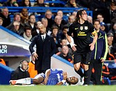 18 04 2012 Stamford Bridge, Chelsea, London Chelsea´s Ivory Coast footballer Didier Drogba and Carles Puyol of FC Barcelona during the Champions Leagu...
