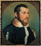 Portrait of a Gentleman, by Giovan Battista Moroni, about, 16th Century. Italy, Lombardy, Milan, Brera art gallery. All. Portrait jacket fur young man...